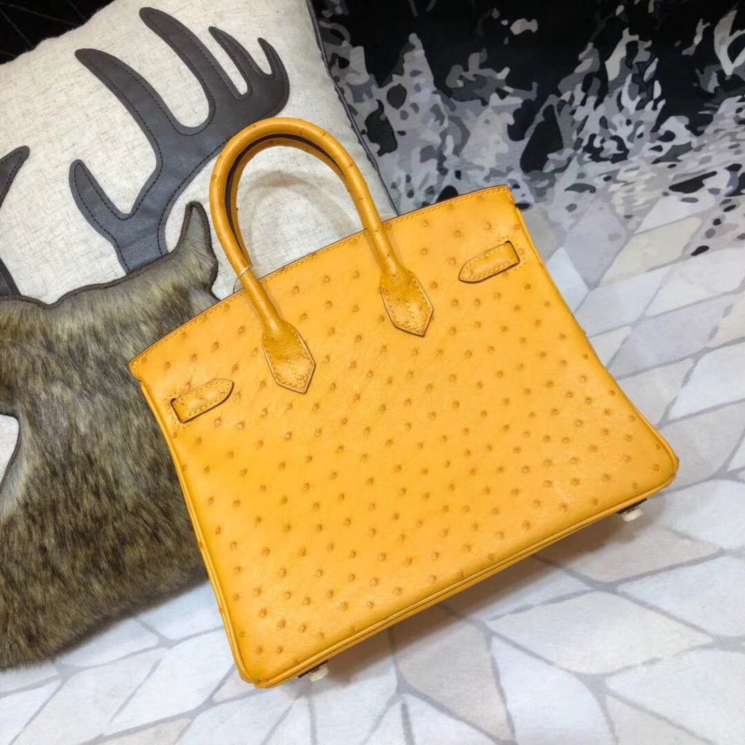 Hermes Birkin25CM 爱马仕原厂顶级鸵鸟皮铂金包 大黄色 金扣