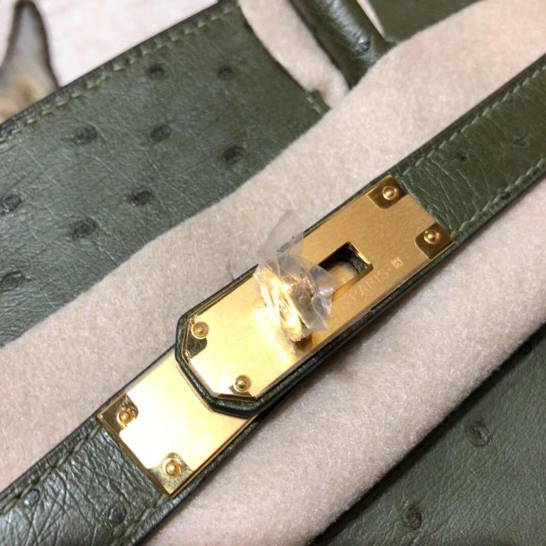 Hermes Birkin30CM 爱马仕V6丛林绿南非鸵鸟皮铂金包 金扣