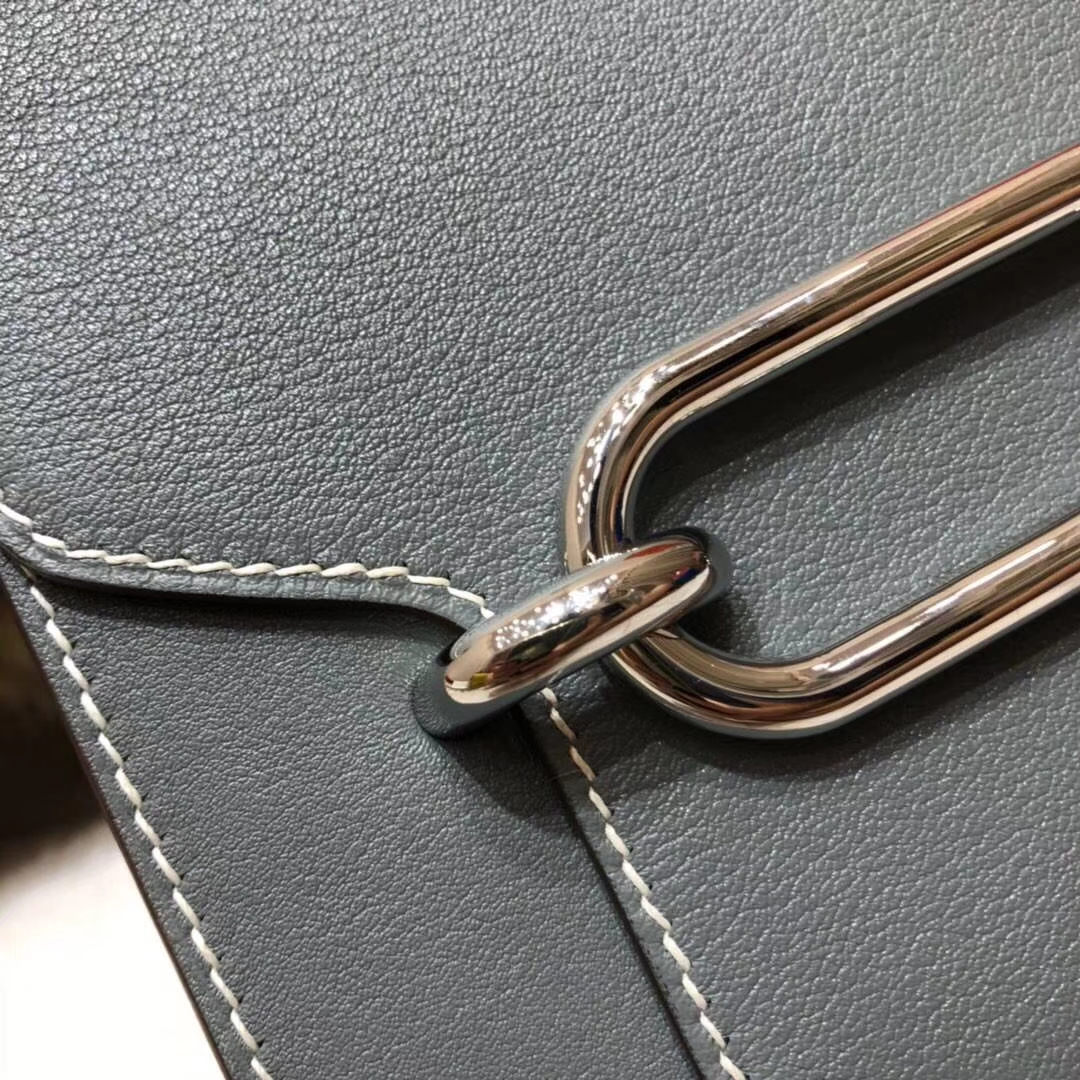 Hermes包包官网 爱马仕原厂Swift牛皮Roulis24CM猪鼻子包 锡器灰 银扣