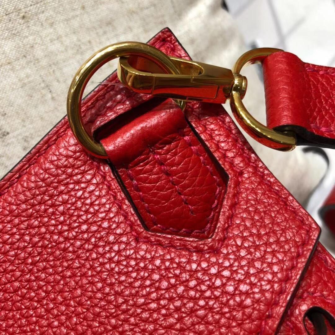 爱马仕包包价格 Hermes Jypsiere中国红原厂Togo牛皮吉普塞包 金扣