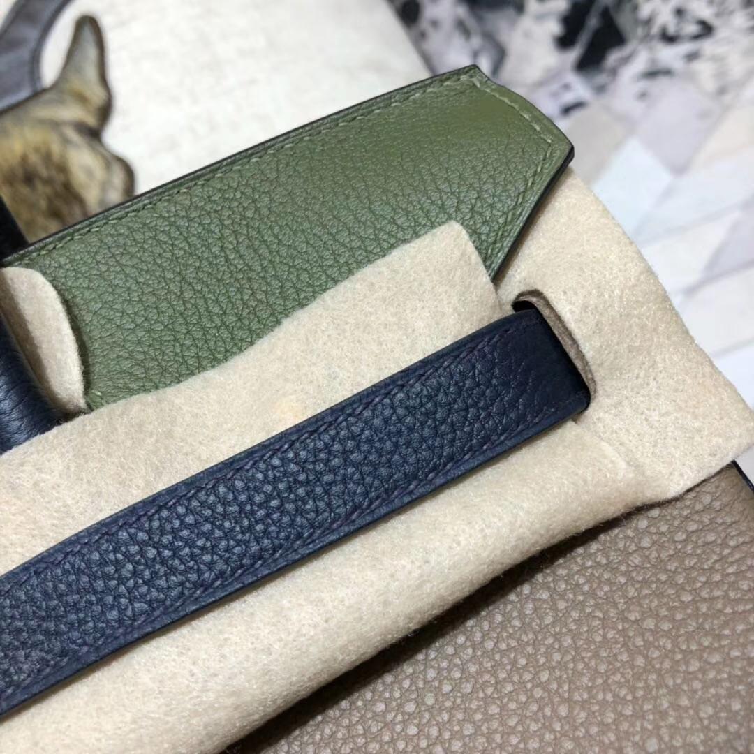爱马仕拼色铂金包 Hermes Birkin30CM 大象灰拼丛林绿拼宝石蓝 金扣