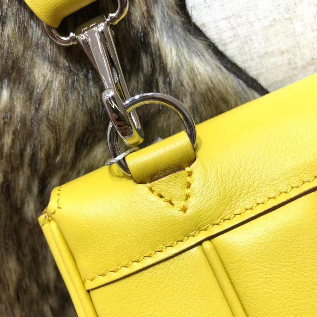 Hermes包包价格 爱马仕新款蜡线缝制Swift牛皮Parfums单肩女包 柠檬黄