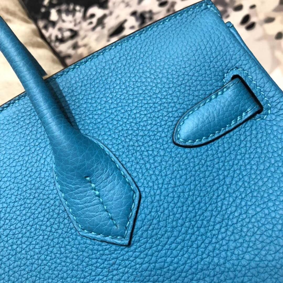 爱马仕女包价格 Hermes Birkin30CM 松石蓝原厂Togo牛皮铂金包 金扣