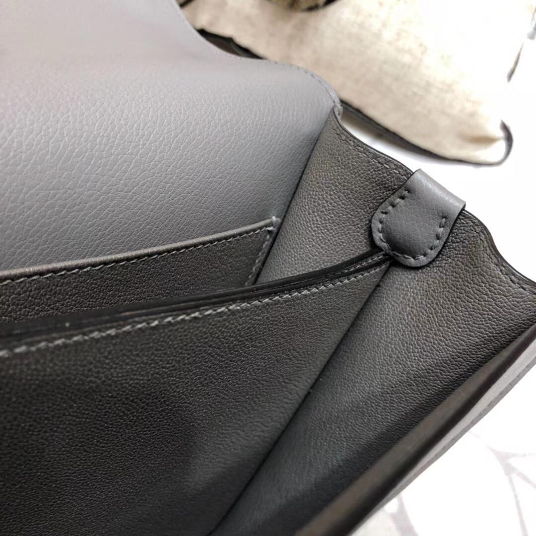 爱马仕猪鼻子包 Hermes Roulis24CM 锡器灰原厂Eve牛皮单肩女包 金扣