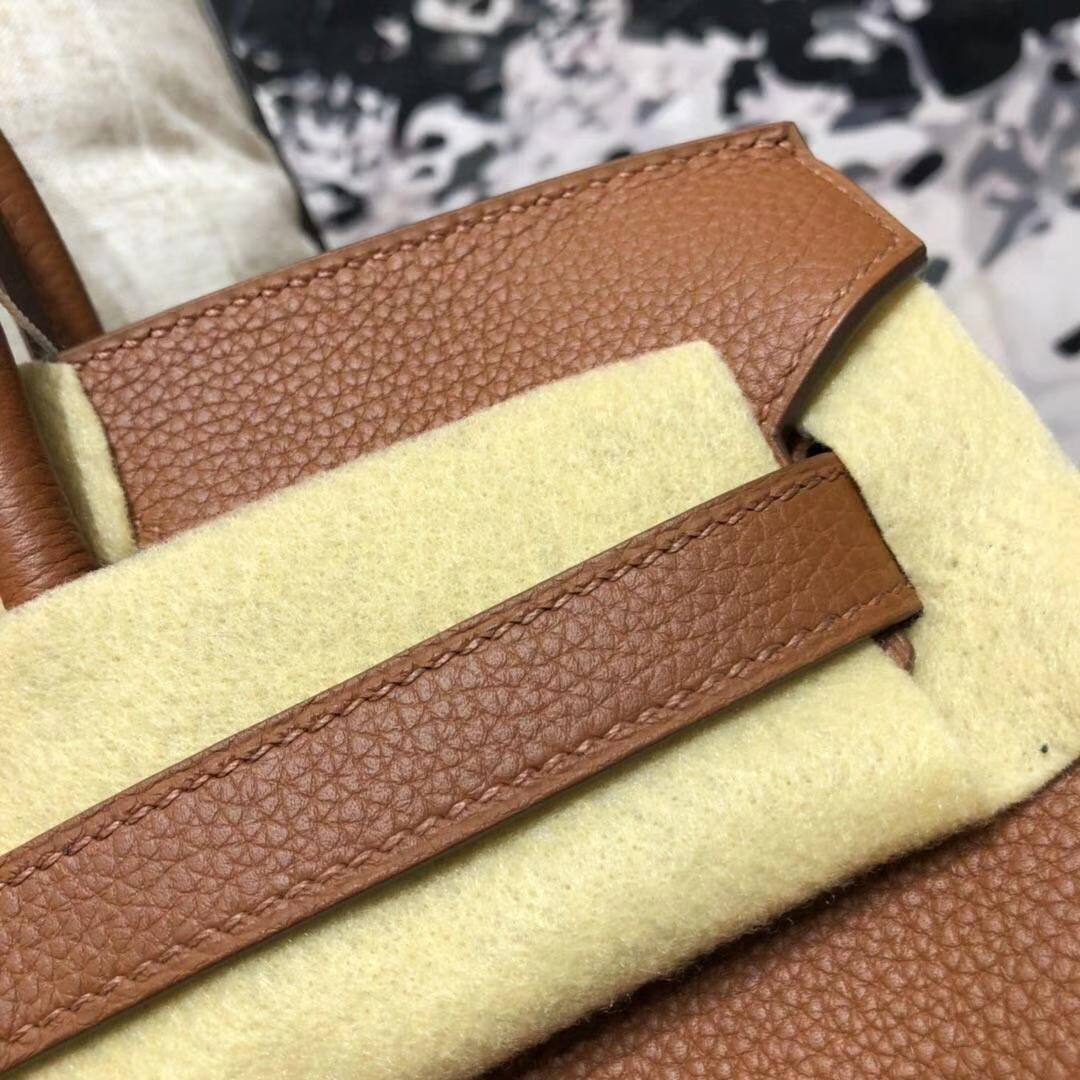 爱马仕Birkin包包 Hermes土黄色原厂Togo小牛皮铂金包30CM  金扣