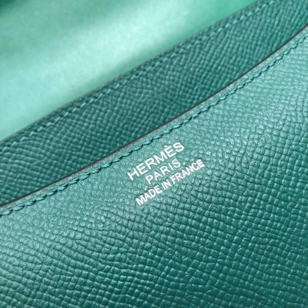 爱马仕康斯坦包 Hermes原厂掌纹牛皮空姐包Constance23CM Z6孔雀绿 银扣