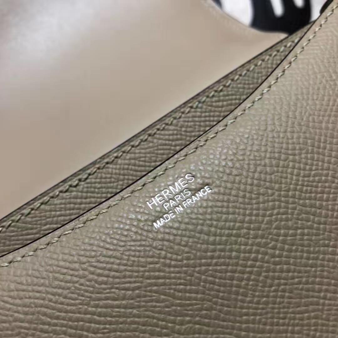 爱马仕空姐包价格 Hermes Constance19CM 斑鸠灰原厂Epsom牛皮 银扣
