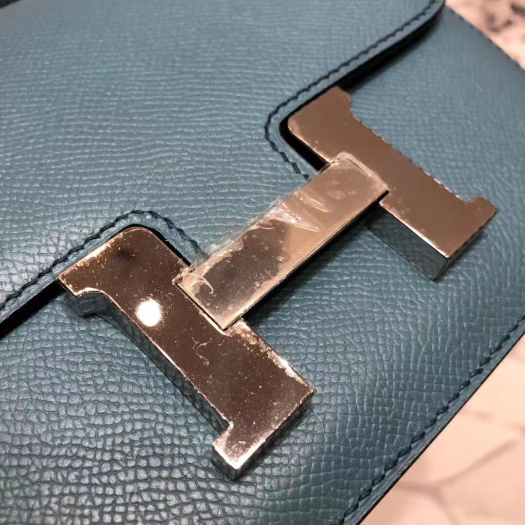爱马仕康斯坦包 Hermes Constance19CM 牛仔蓝原厂掌纹牛皮 银扣