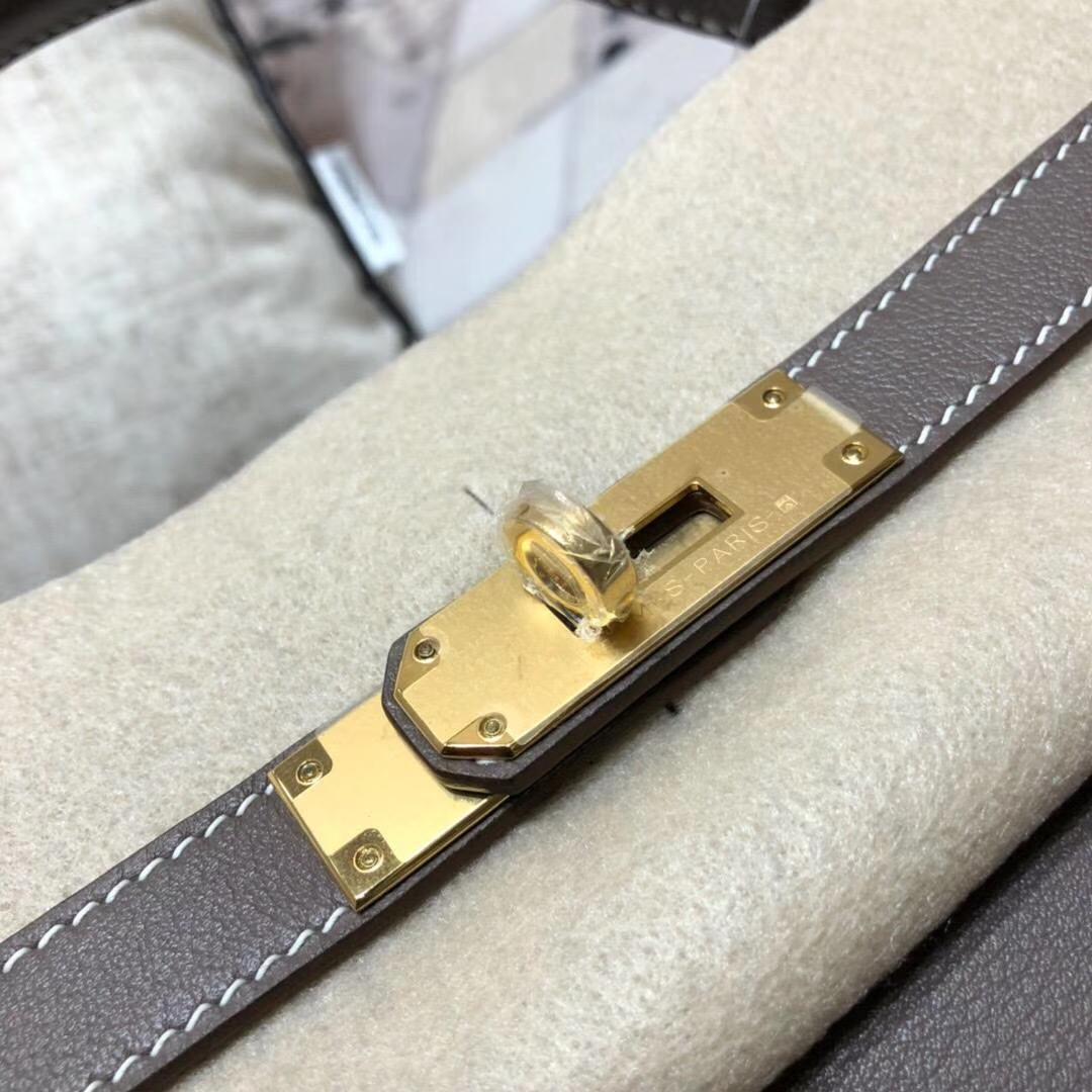 爱马仕Kelly女包 Hermes原厂Swift牛皮CC18大象灰凯莉包32CM 金扣