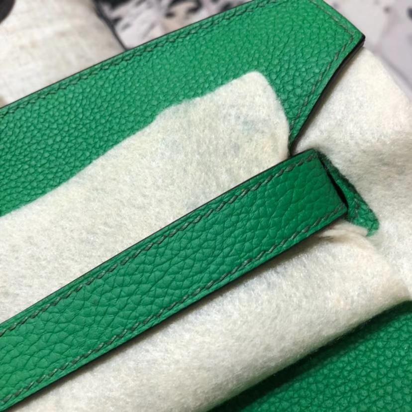 Hermes Birkin35CM 爱马仕1K竹子绿法国Togo小牛皮铂金包 金扣