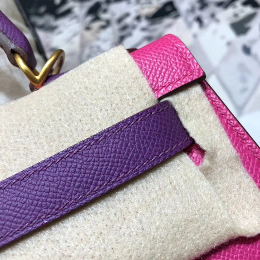 Hermes包包官网 爱马仕玫红拼海葵紫进口Epsom牛皮凯莉包Kelly28CM 金扣