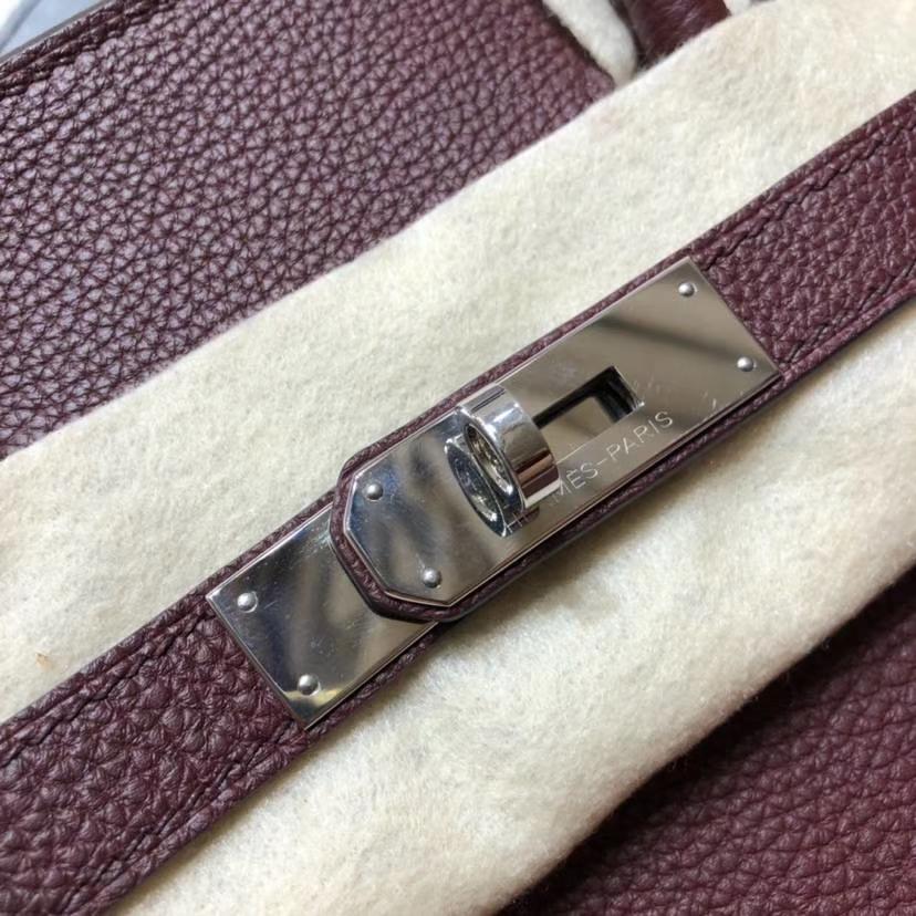 Hermes包包官网 爱马仕57波尔多酒红法国Togo小牛皮铂金包Birkin35CM 银扣