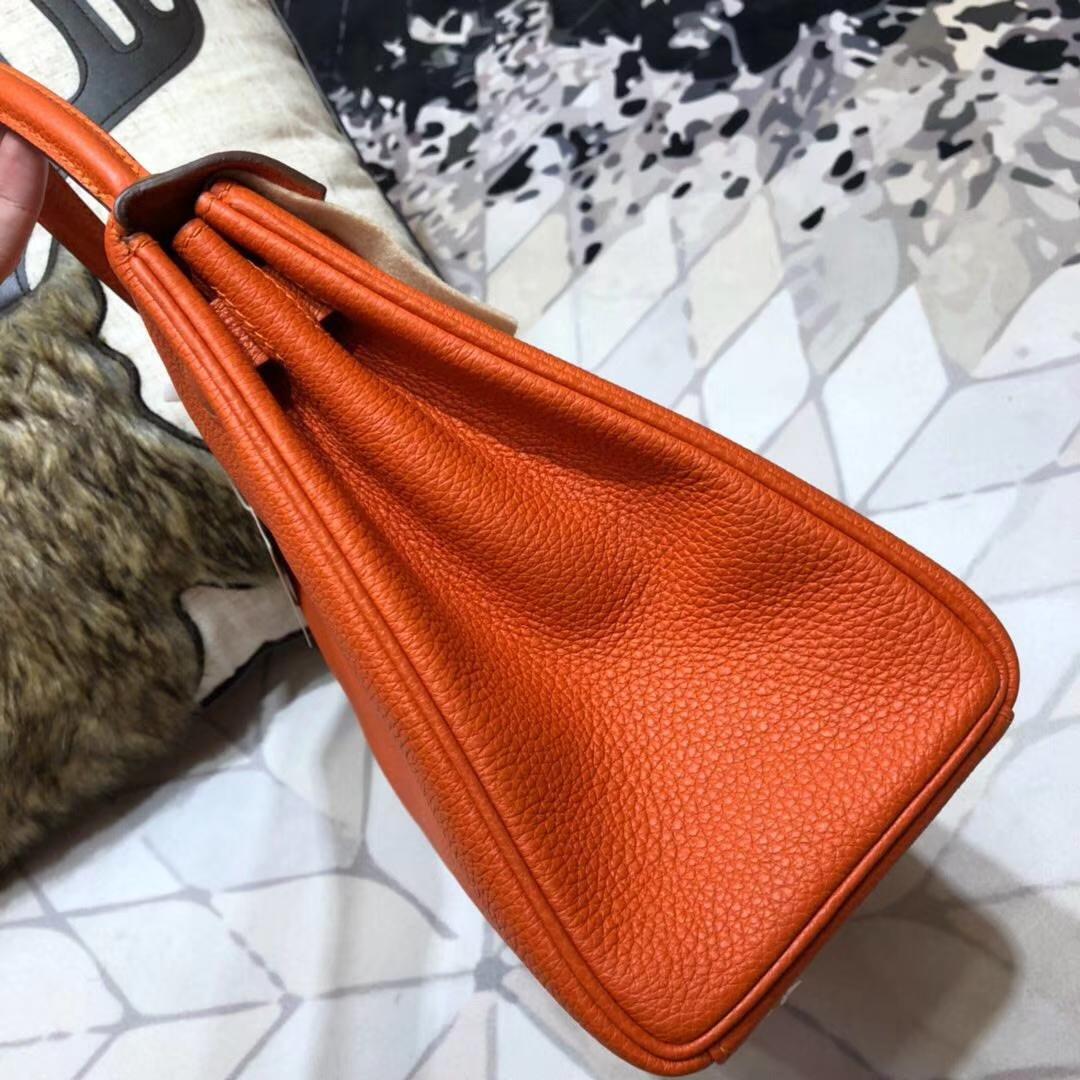 Hermes Kelly28CM 爱马仕93橙色原厂Togo牛皮凯莉包 金扣
