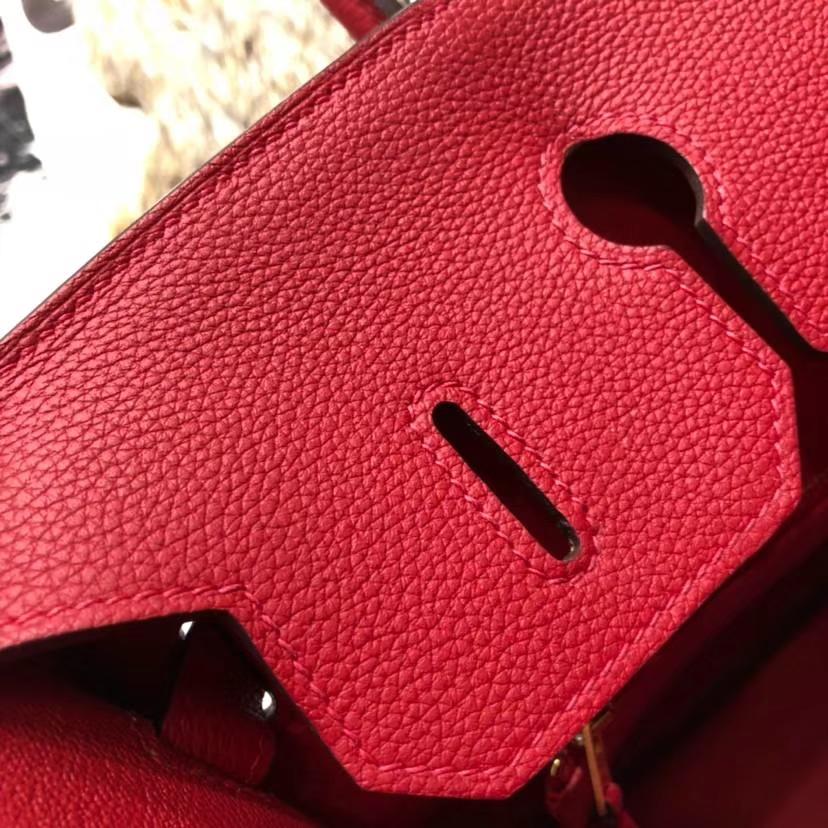 厂家直销 Hermes爱马仕法国Togo小牛皮Birkin35CM铂金包 Q5中国红 金扣