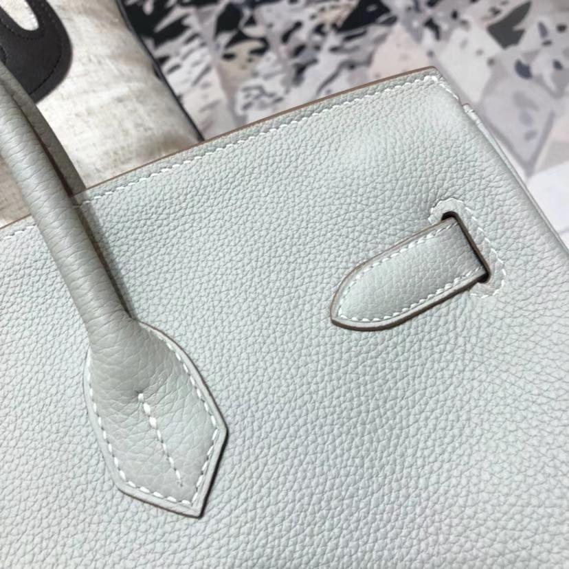 爱马仕铂金包尺寸 Hermes Birkin35CM 珍珠灰原厂Togo小牛皮 金扣