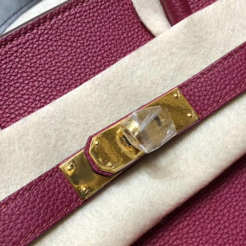 爱马仕铂金包 Hermes原厂法国小牛皮Birkin女包35CM B5宝石红 金扣