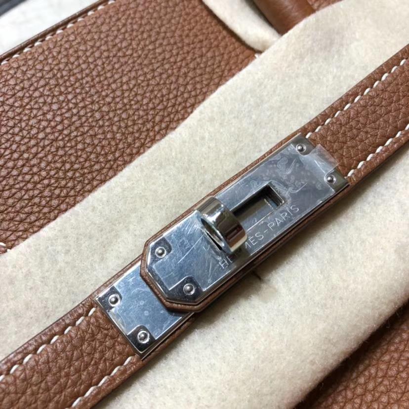 Hermes Birkin35CM 爱马仕土黄色法国小牛皮Birkin女包铂金包 银扣