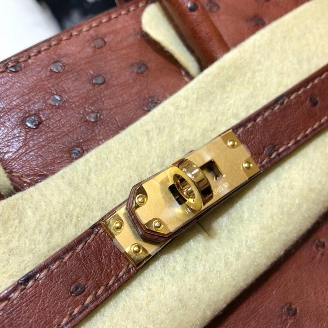 Hermes包包官网 爱马仕红棕色顶级鸵鸟皮Birkin25铂金包 金扣