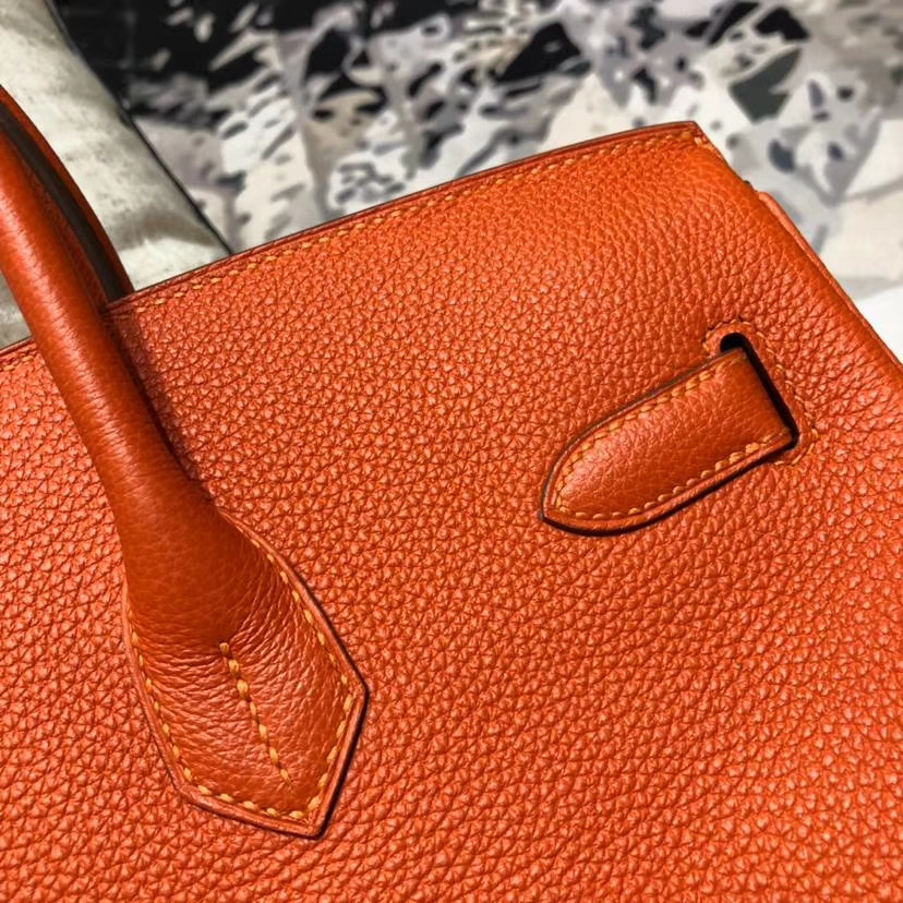 爱马仕包包官网 Hermes Birkin35CM 橙色原厂小牛皮铂金包 银扣
