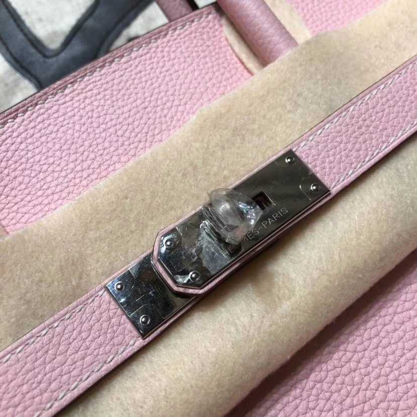 Hermes包包官网 爱马仕3Q芭比粉法国Togo小牛皮铂金包Birkin35CM 金扣