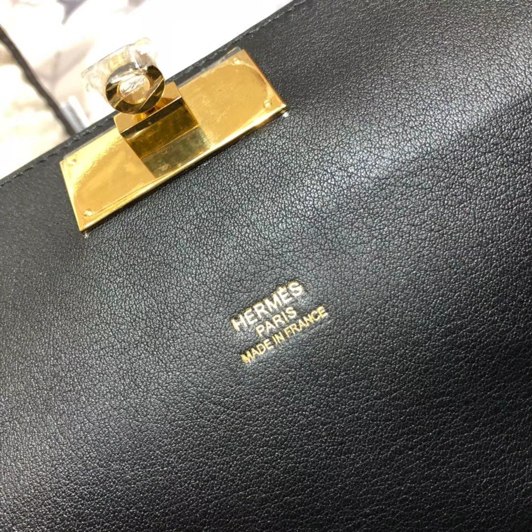 爱马仕女包价格 Hermes Toolbox26CM 黑色swift牛皮牛奶包 金扣
