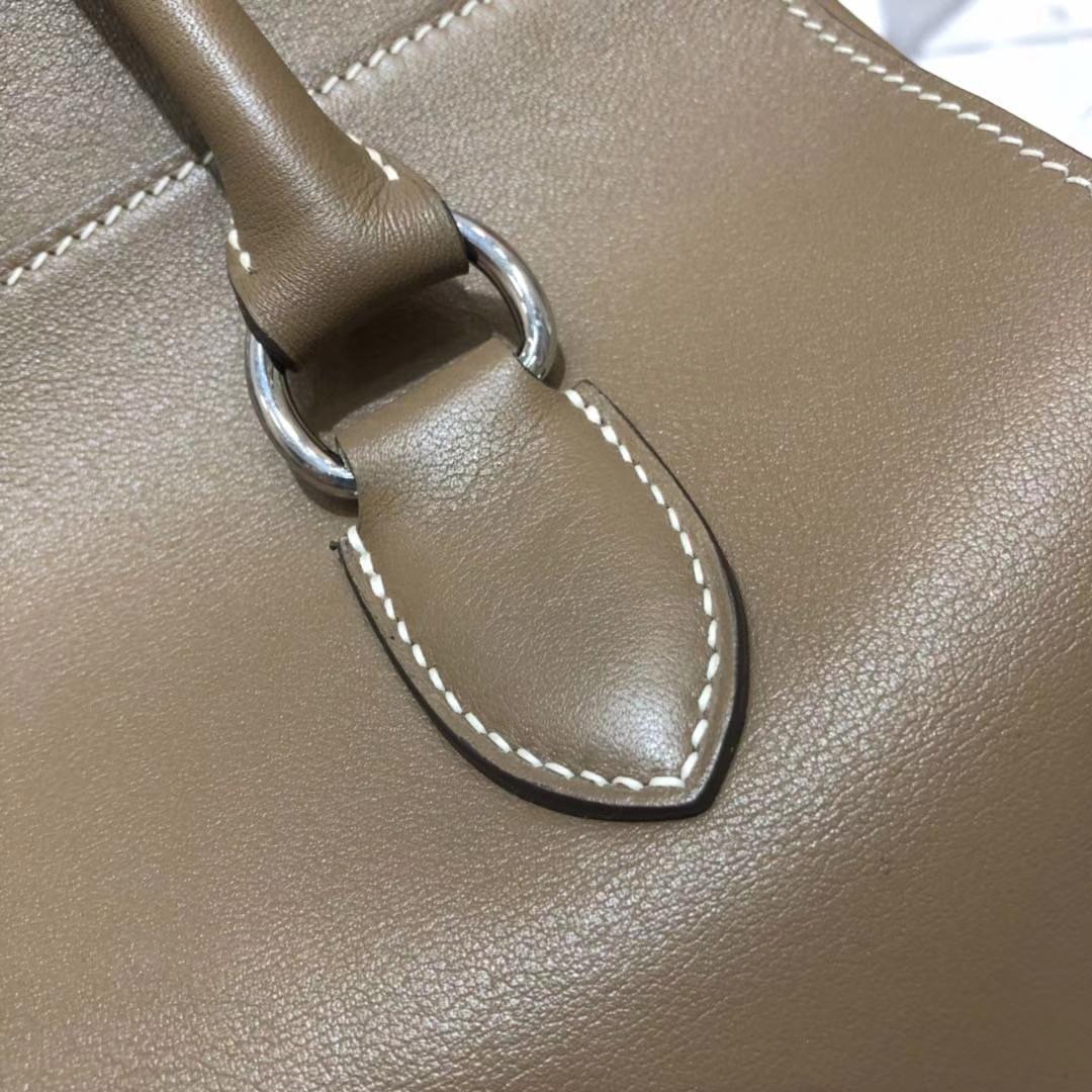 Hermes Toolbox26CM 爱马仕大象灰顶级Swift牛皮牛奶包手提女包 银扣