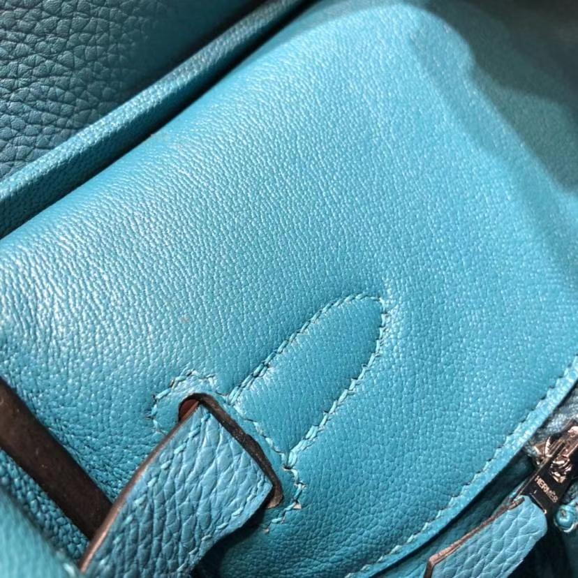 爱马仕Birkin包包 Hermes牛仔蓝法国小牛皮铂金包Birkin35CM 银扣