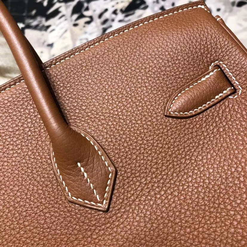 Hermes包包价格 爱马仕CC37金棕色法国Togo小牛皮Birkin35铂金包 金扣