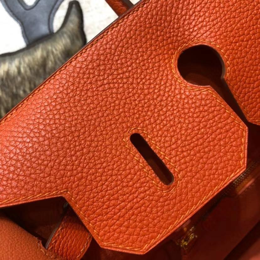 Hermes Birkin35CM 爱马仕法国Togo小牛皮铂金包 橙色 金扣