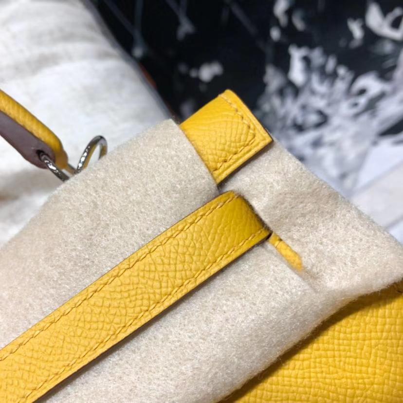Hermes Kelly25CM 爱马仕琥珀黄原厂Epsom牛皮外缝凯莉包 银扣