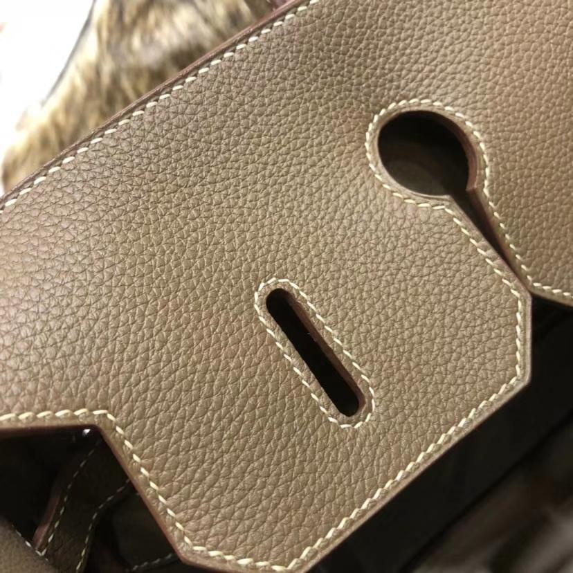 爱马仕包包官网 Hermes Birkin35CM CC18大象灰法国小牛皮铂金包 银扣