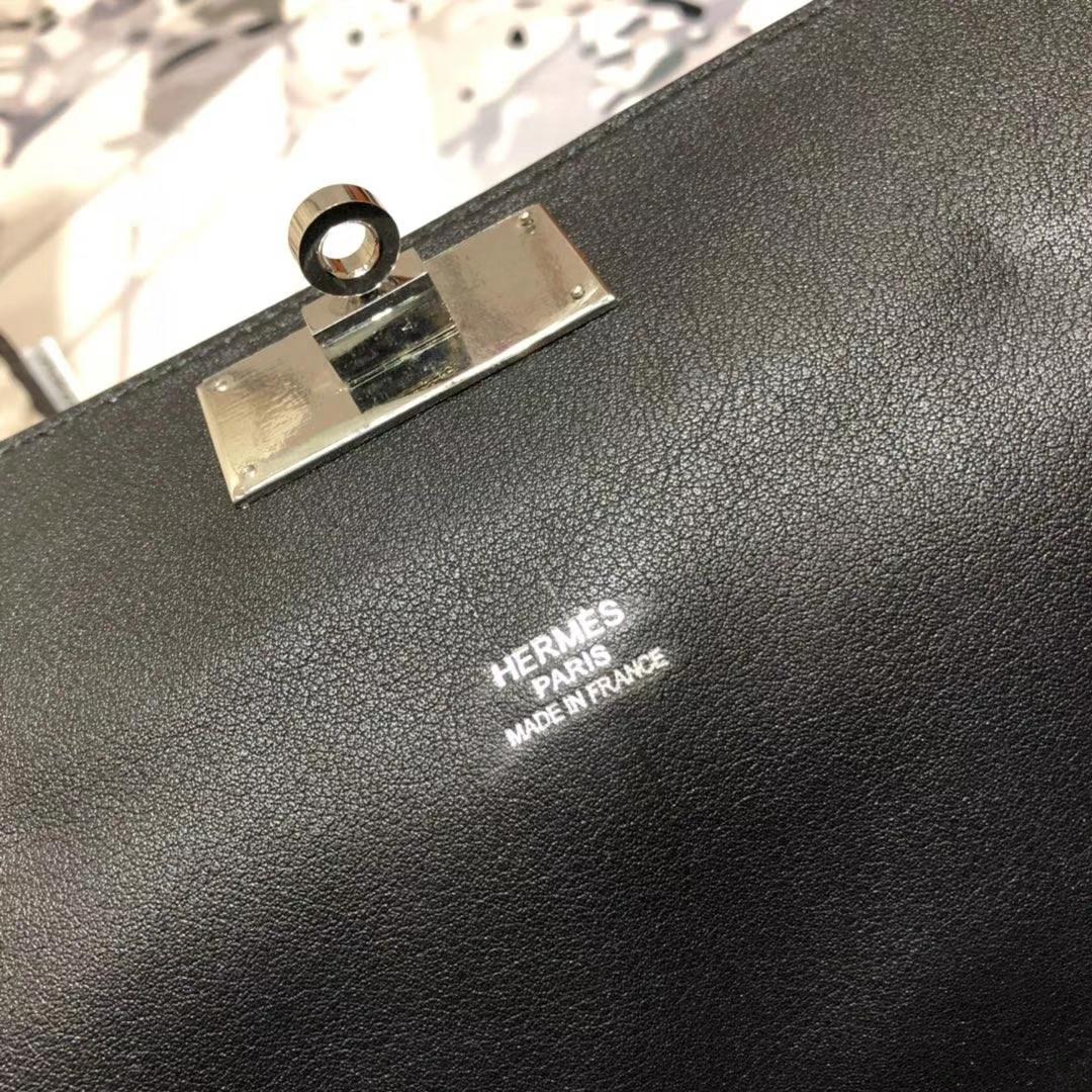 爱马仕牛奶包 Hermes Toolbox26CM 黑色原厂Swift牛皮手提女包 银扣