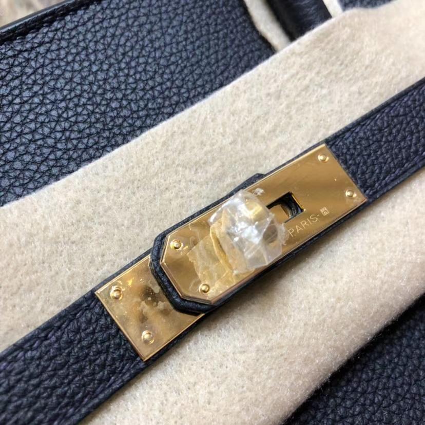 Hermes Birkin35CM 爱马仕89黑色法国小牛皮铂金包 金扣