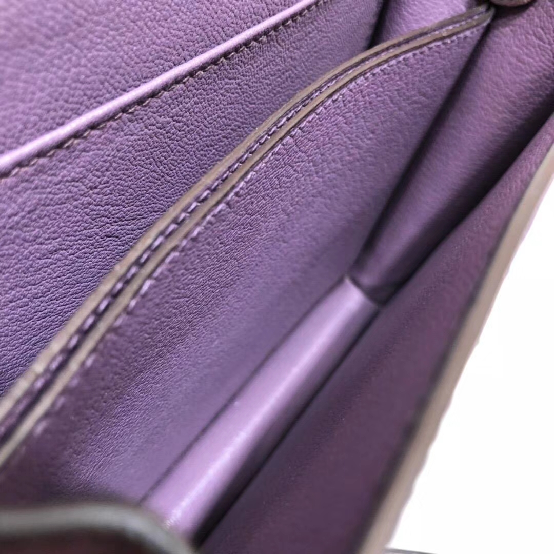 Hermes新款女包 爱马仕梦幻紫顶级南非鸵鸟皮猪鼻子包Roulis18CM 金扣