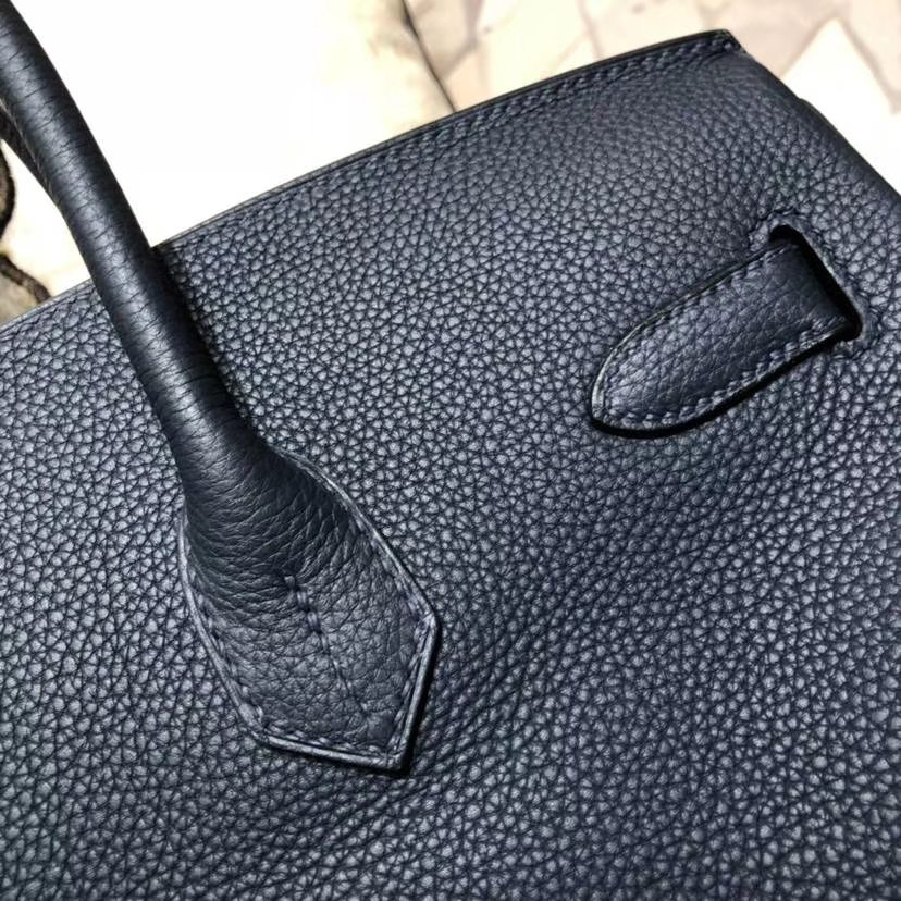 爱马仕铂金包尺寸 Hermes Birkin35CM 7K宝石蓝原厂Togo小牛皮 银扣