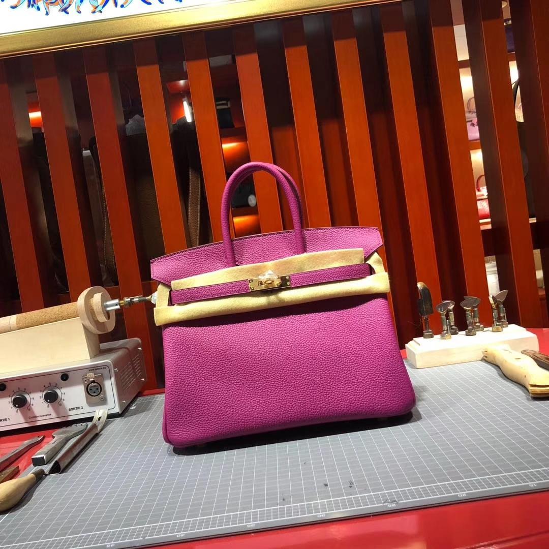 Hermes包包定制 爱马仕L3玫瑰紫法国顶级Togo皮铂金包Birkin25CM 金扣