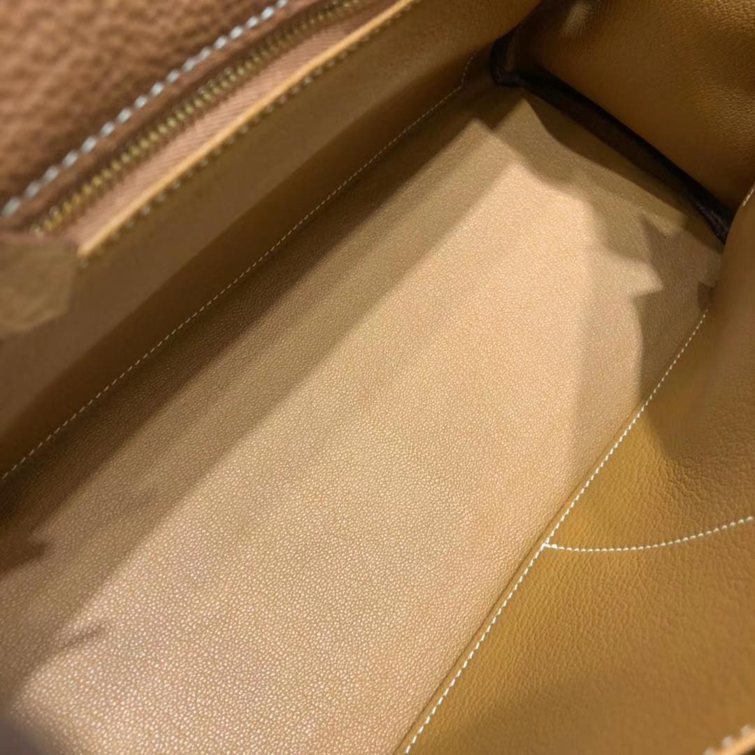 厂家直销 Hermes爱马仕土黄色原厂Togo小牛皮凯莉包Kelly32CM 金扣