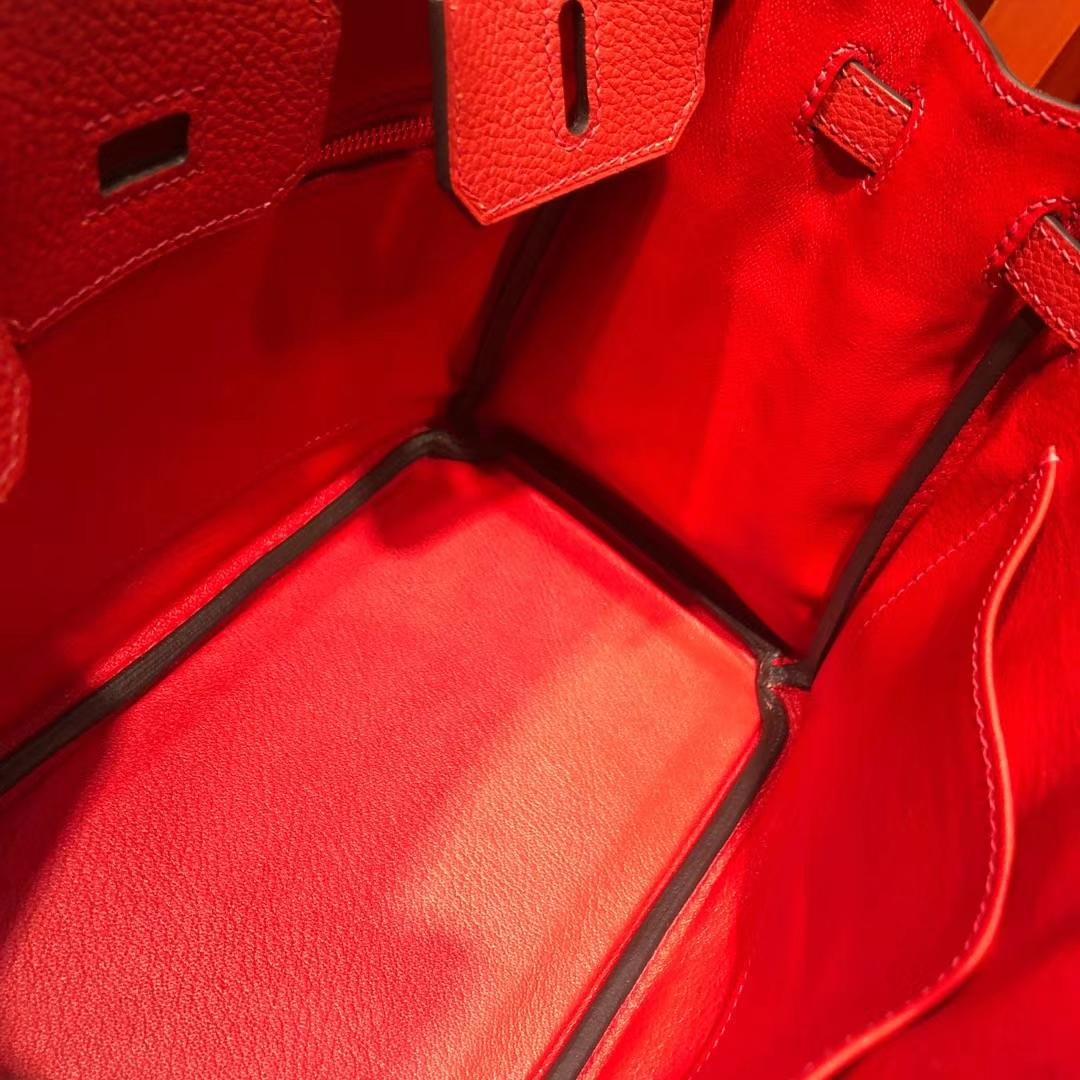 广州包包批发 Hermes爱马仕S5蕃茄红法国顶级荔枝纹牛皮铂金包Birkin25CM 金扣