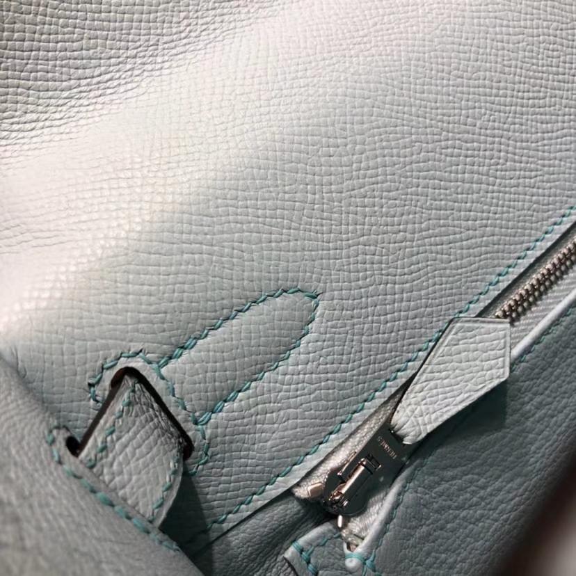 爱马仕Kelly包包 Hermes马卡龙蓝顶级Epsom牛皮凯莉包Kelly28CM 银扣