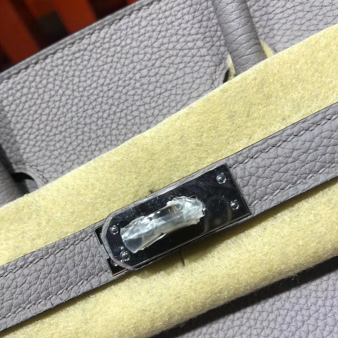 爱马仕Birkin包包 Hermes顶级Togo牛皮铂金包Birkin25CM 1F钻石灰 金扣