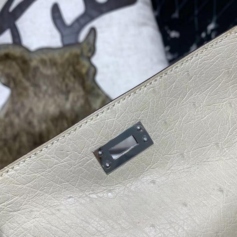 Hermes Minikelly Pochette22CM 爱马仕CC10奶昔白南非鸵鸟皮迷你凯莉包 银扣
