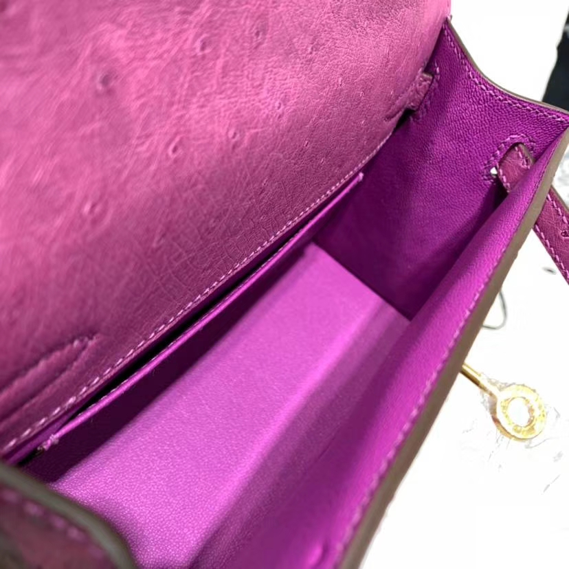 Hermes Minikelly Pochette22CM 爱马仕南非鸵鸟皮迷你凯莉包 梅紫色 金扣