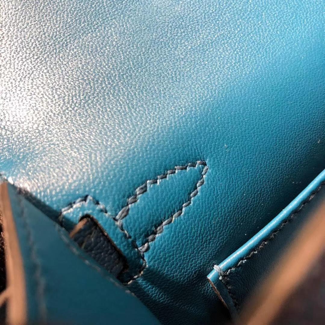 广州白云皮具城 Hermes爱马仕S7加利西亚蓝顶级山羊皮Minikelly迷你凯莉包2代 银扣