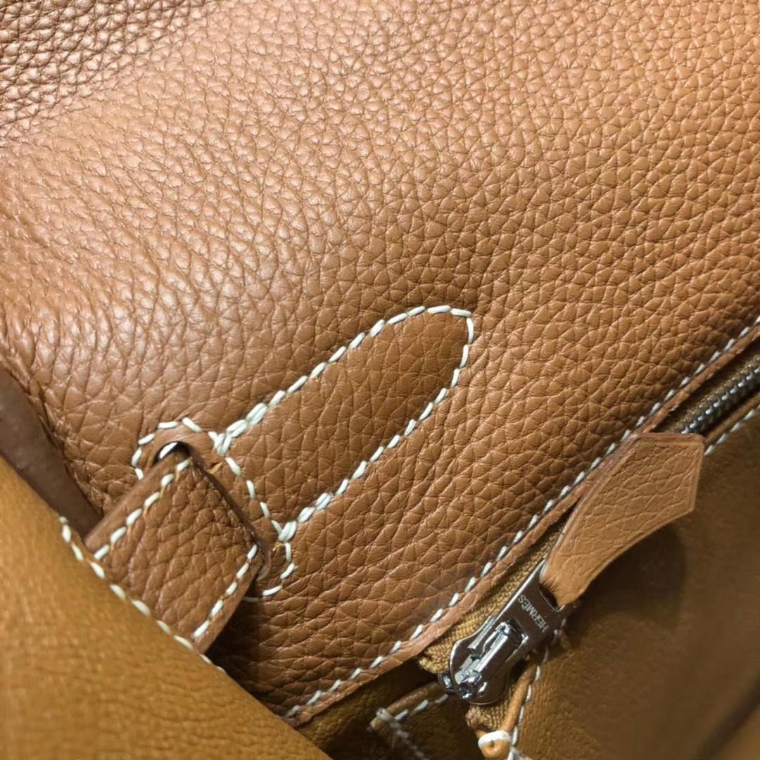 Hermes Kelly32CM 爱马仕原厂御用小牛皮内缝凯莉包 土黄色 银扣
