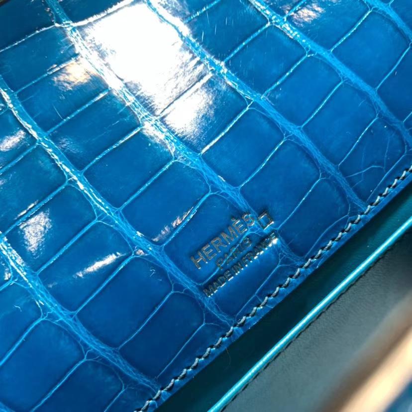 Hermes Minikelly22CM 爱马仕希腊蓝亮光鳄鱼皮迷你凯莉包手包 金扣