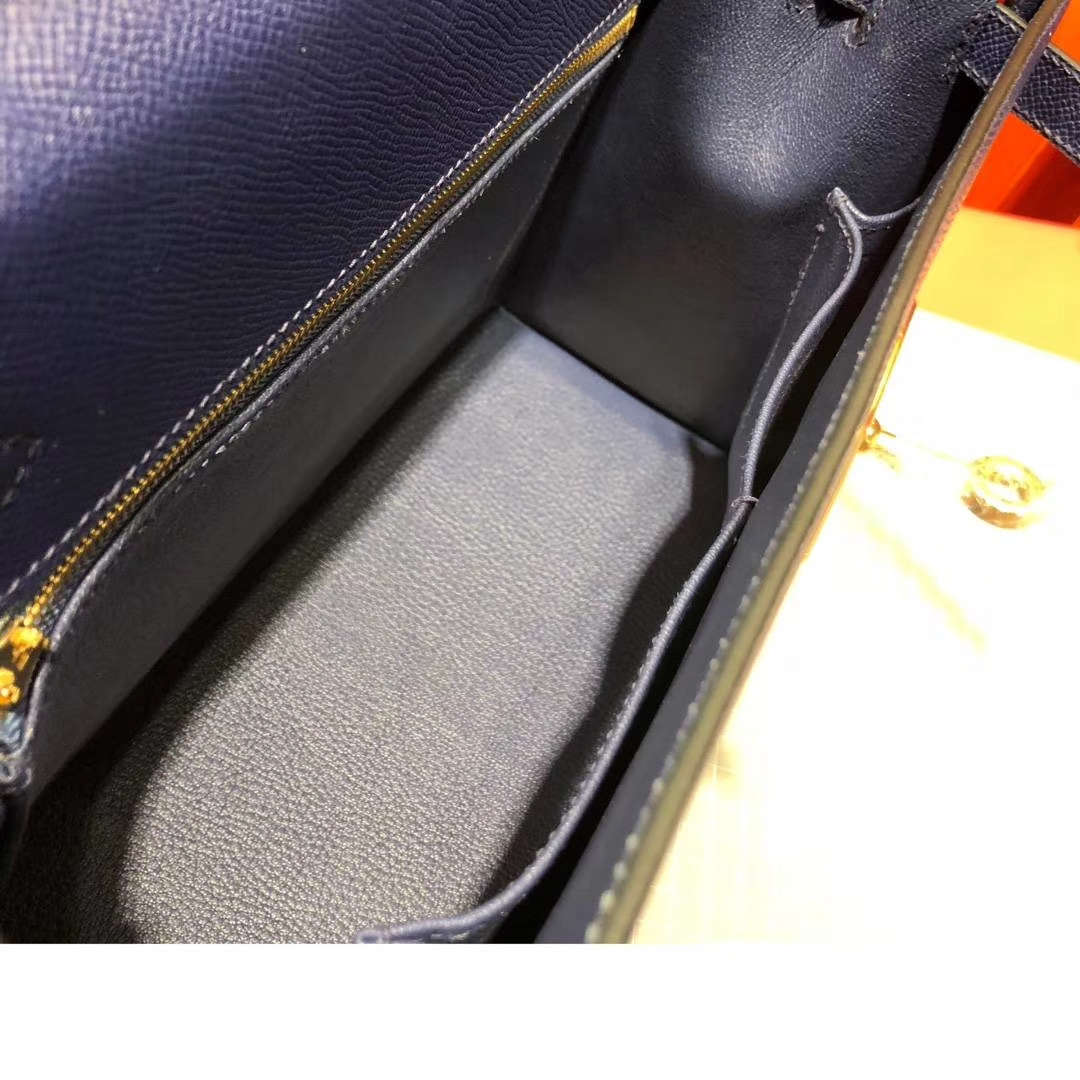 Hermes Kelly32CM 爱马仕CC73宝石蓝原厂掌纹牛皮外缝凯莉包 银扣