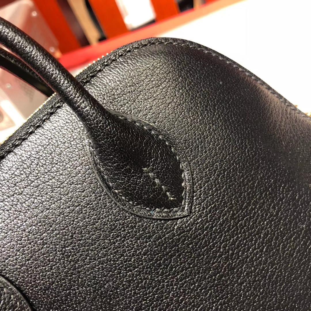 爱马仕保龄球包迷你款 Hermes Mini Bolide 黑色进口顶级山羊皮 金扣