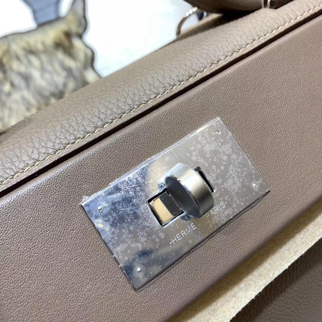 Hermes Kelly24-24 爱马仕新款凯莉包 大象灰Togo牛皮 银扣