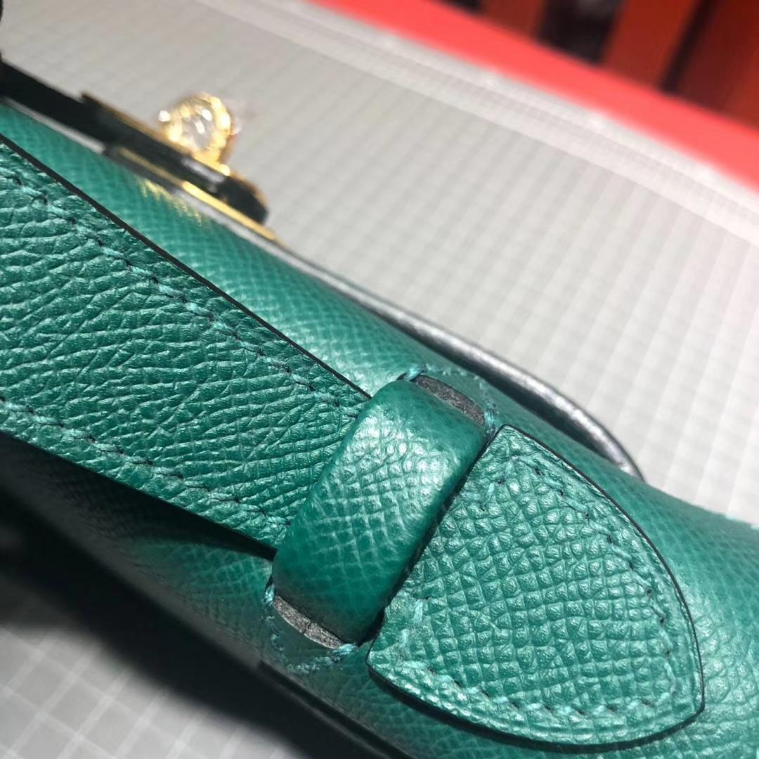 爱马仕Minikelly手包 Hermes原厂Epsom牛皮迷你凯莉包 Z6孔雀绿 金扣