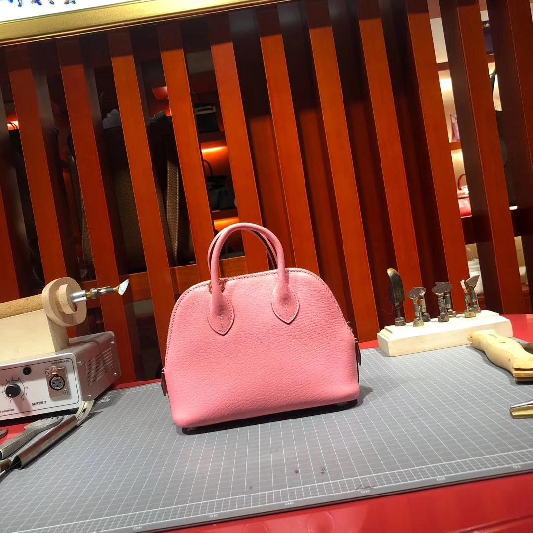 爱马仕新款女包 Hermes Mini Bolide 山羊皮迷你保龄球包手提包 粉色
